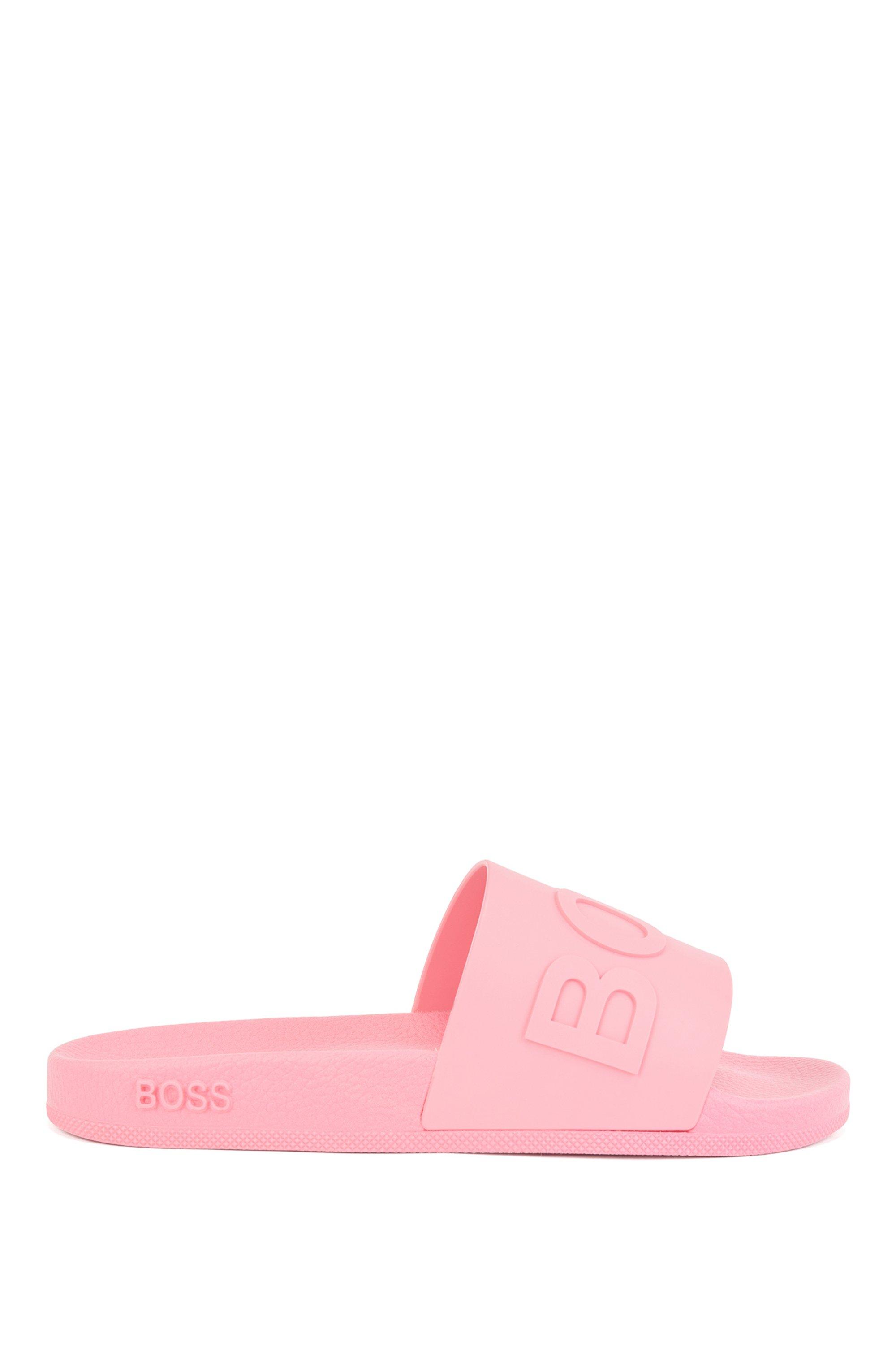 Slides mit Logo und geformtem Fußbett, Pink