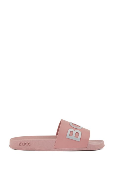 Logo-strap slides with moulded footbed, light pink