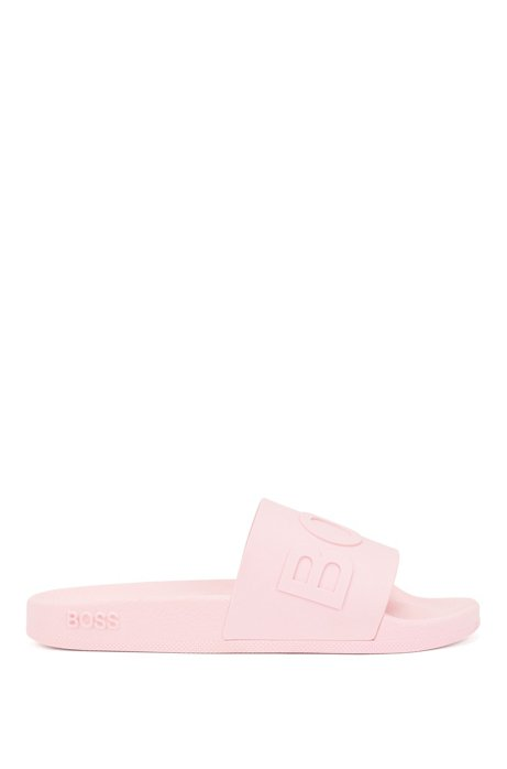 Sandali slider con cinturino con logo e soletta sagomata, Rosa chiaro