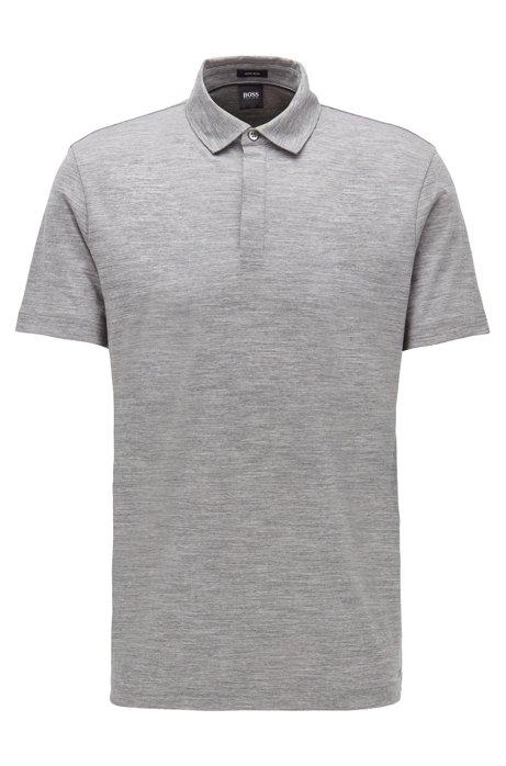 Gestreiftes Poloshirt aus nachverfolgbarer italienischer Schurwolle, Grau