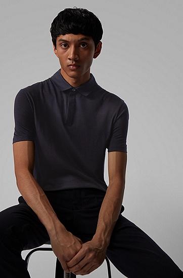 男士意大利初剪羊毛条纹 Polo 衫,  402_暗蓝色