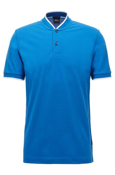 Cotton-piqué polo shirt with baseball collar, Blue