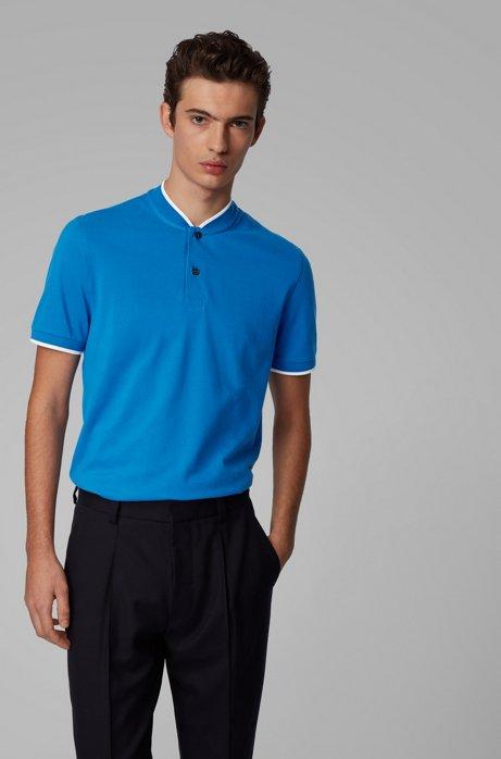 Polo en piqué de coton avec col baseball, Bleu