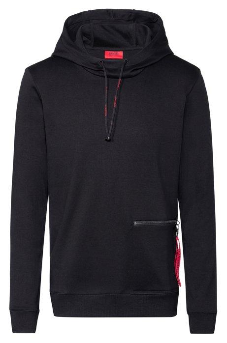 Kapuzen-Sweatshirt aus Baumwolle mit abnehmbarem Schlüsselanhänger der Kollektion, Schwarz