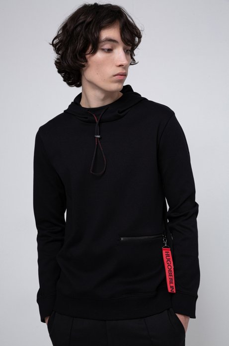 Hooded sweatshirt in cotton with detachable collection key ring, Black