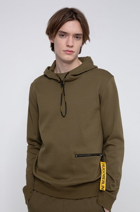 Hooded sweatshirt in cotton with detachable collection key ring, Khaki