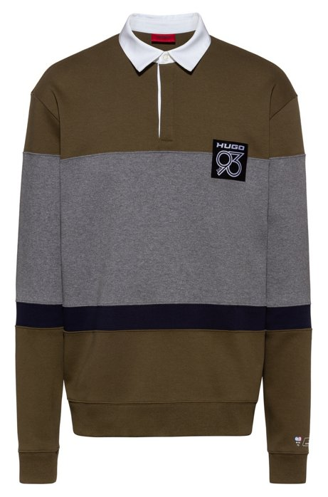 Oversized-fit colour-block polo shirt with HUGO '93 details, Khaki