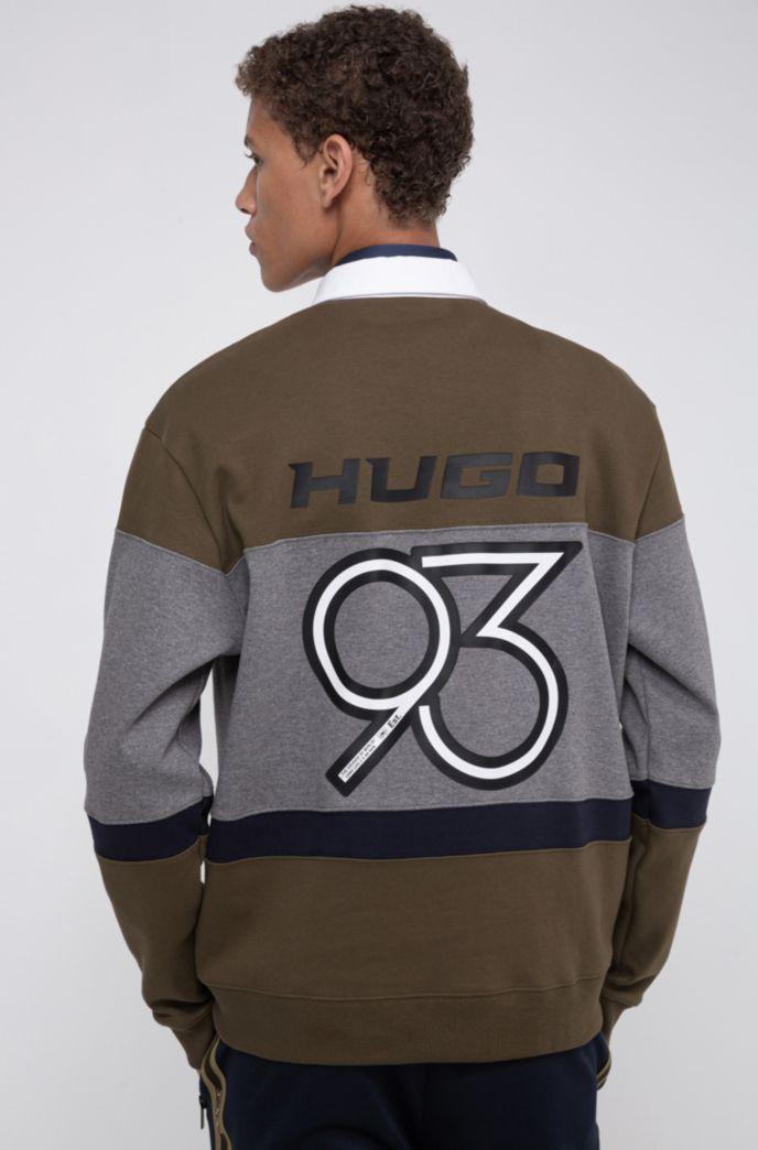 Oversized-fit polo met blokkleuren en HUGO '93-details
