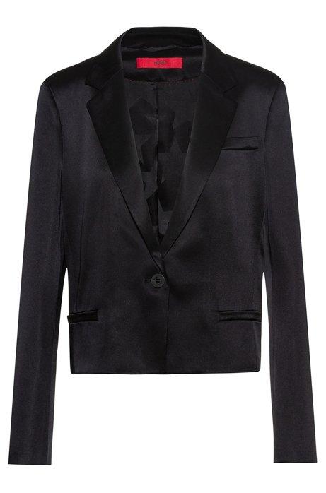 Veste courte Regular Fit en tissu brillant, Noir