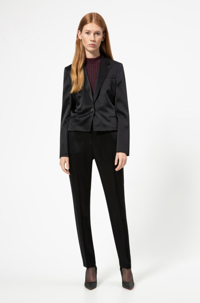 Cropped regular-fit jacket in lustrous fabric