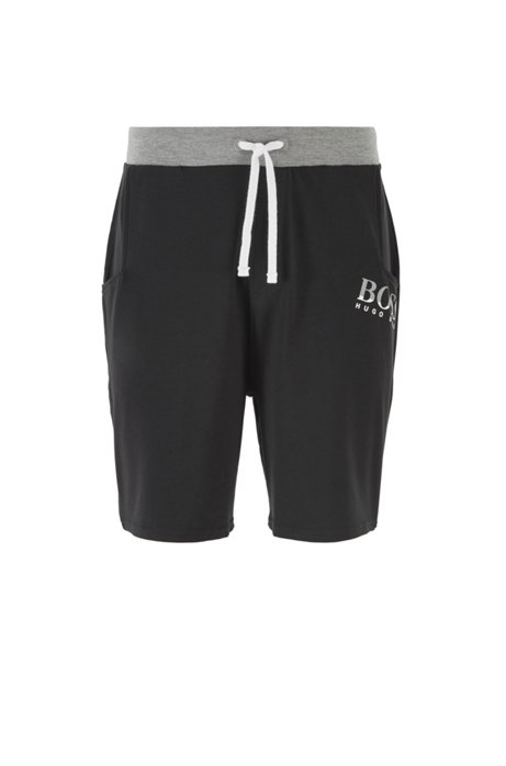Drawstring-waist pyjama shorts in stretch jersey, Black