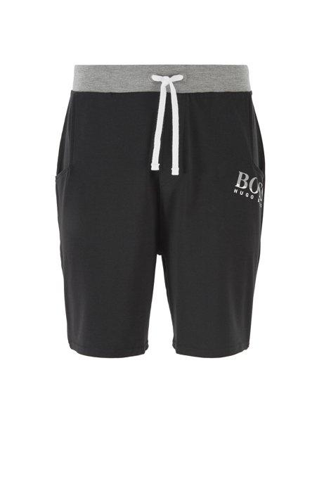 Shorts de pijama en punto elástico con cordón en la cintura, Negro