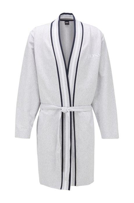 Fein gerippter Bademantel aus Baumwolle im Kimono-Stil, Grau