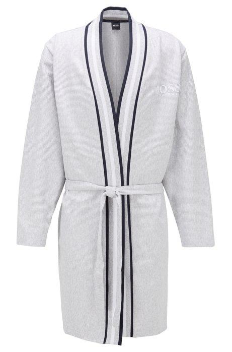 Kimono-style bathrobe in needle-rib cotton, Grey