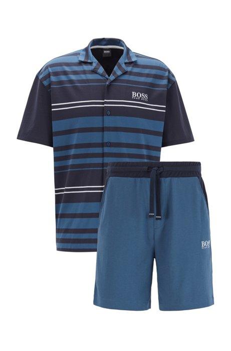 Kurzer Pyjama aus Interlock-Baumwolle, Dunkelblau