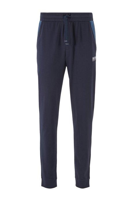 Pyjamabroek van interlocked katoen met boorden onderaan de pijpen, Donkerblauw