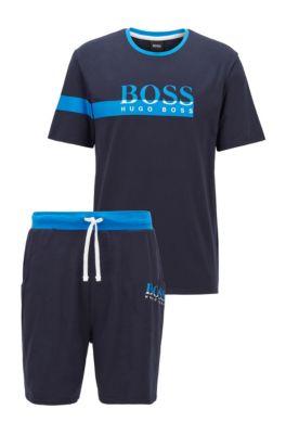 Ensemble de pyjama à imprimés logo bicolores, en coffret cadeau, Bleu foncé