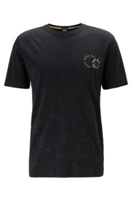 T-Shirt aus Baumwolle mit mehrlagigem Logo in Metallic-Optik, Schwarz