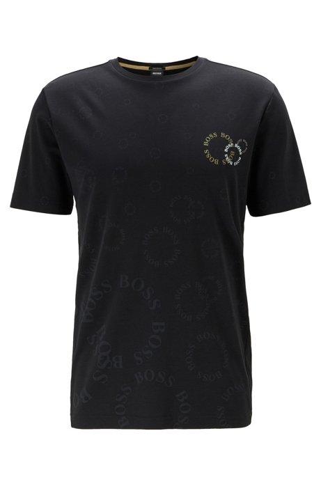 Regular-fit T-shirt in cotton with layered metallic logo, Black