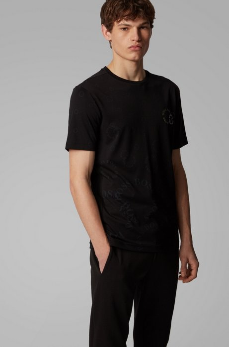 Regular-fit T-shirt in cotton with layered metallic logo, Black