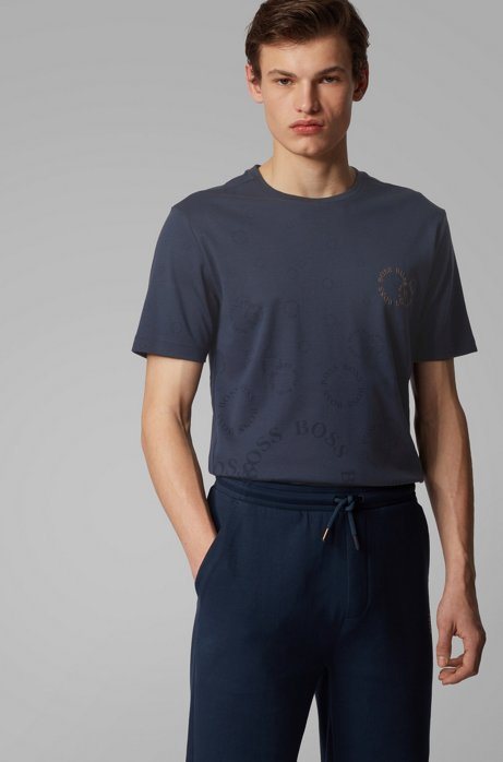 Regular-fit T-shirt in cotton with layered metallic logo, Dark Blue