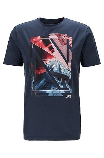 男士网纱图案圆领平纹布 T 恤,  410_海军蓝色