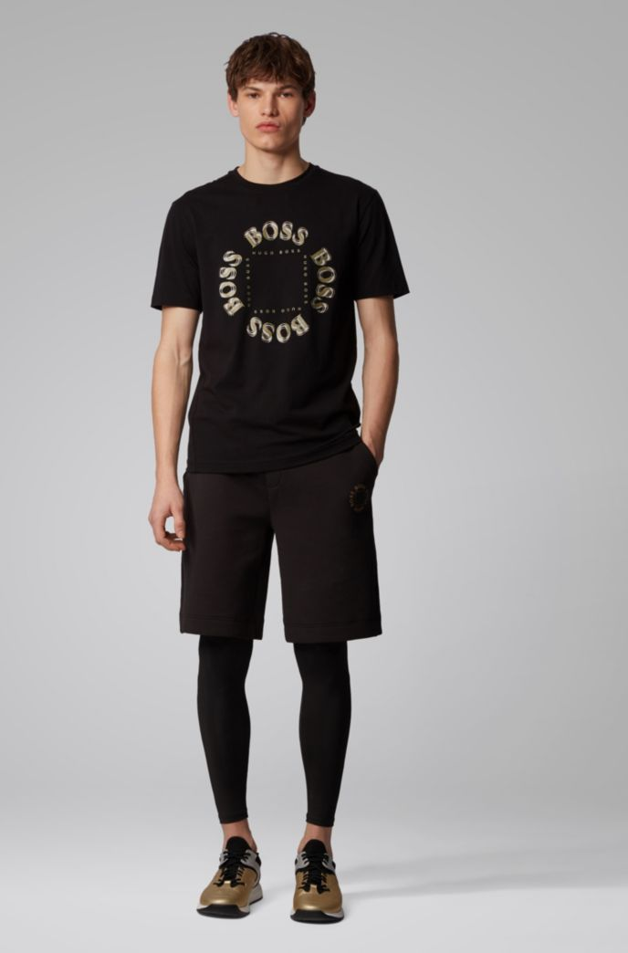 Stretch-cotton T-shirt with layered metallic logo