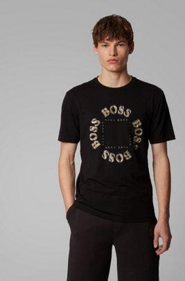 Stretch-cotton T-shirt with layered metallic logo, ブラック