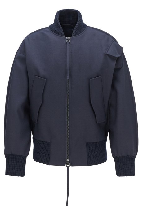Fashion Show bomber jacket with knitted trims, Dark Blue