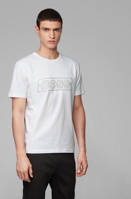 T-shirt van stretchkatoen met reflecterend logo, Wit