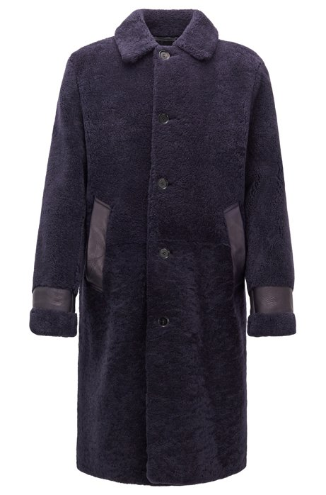 Relaxed-fit shearling coat with leather trims, Dark Purple