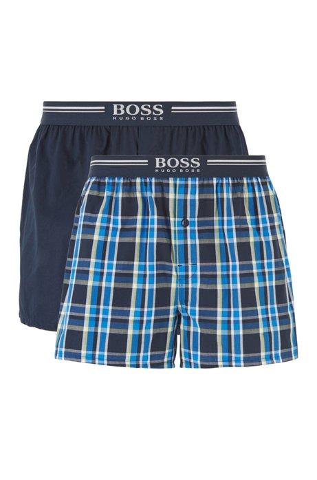 Lot de deux shorts de pyjama en popeline de coton, Bleu