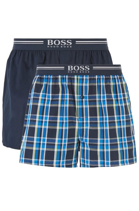 Two-pack of pyjama shorts in cotton poplin, Blue