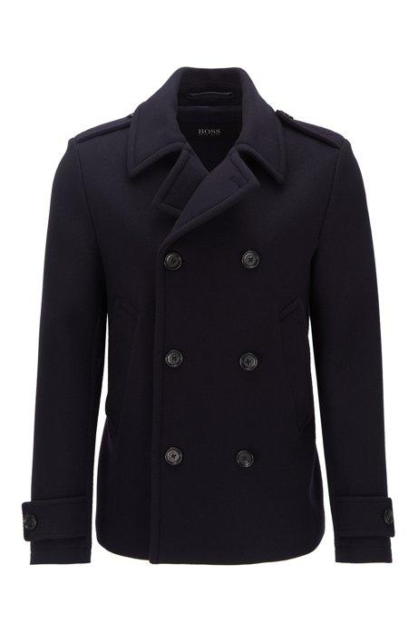Pea coat in virgin wool and cashmere, Dark Blue