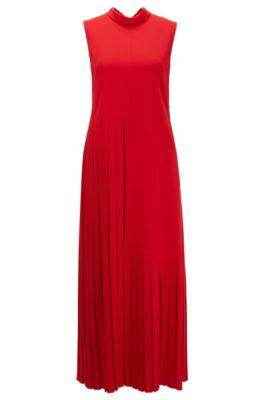 Deels geplooide maxi-jurk van gekreukte crêpe met strikkraag, Rood