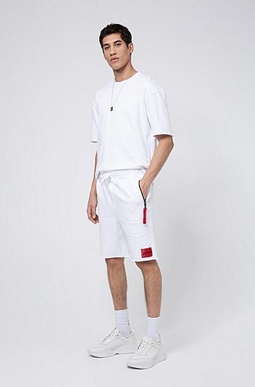 男士可拆卸系列钥匙环毛边短裤,  100_白色
