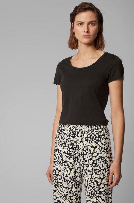 Slim-fit T-shirt van pimakatoen met modal, Zwart