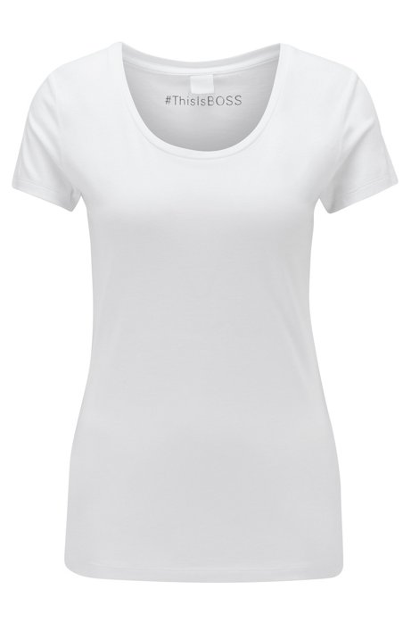 Camiseta slim fit en algodón Pima con modal, Blanco