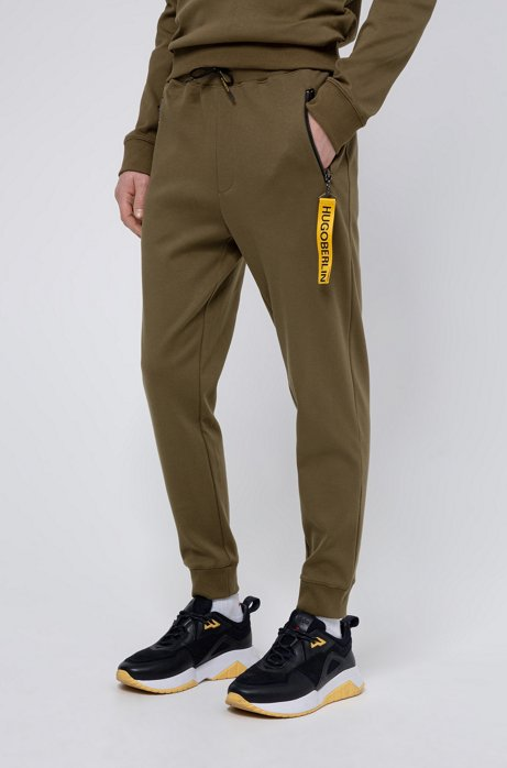 Jogging trousers in cotton with detachable collection key ring, Khaki