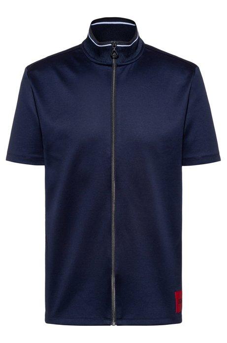 Zip-through polo shirt in mercerised cotton, Dark Blue