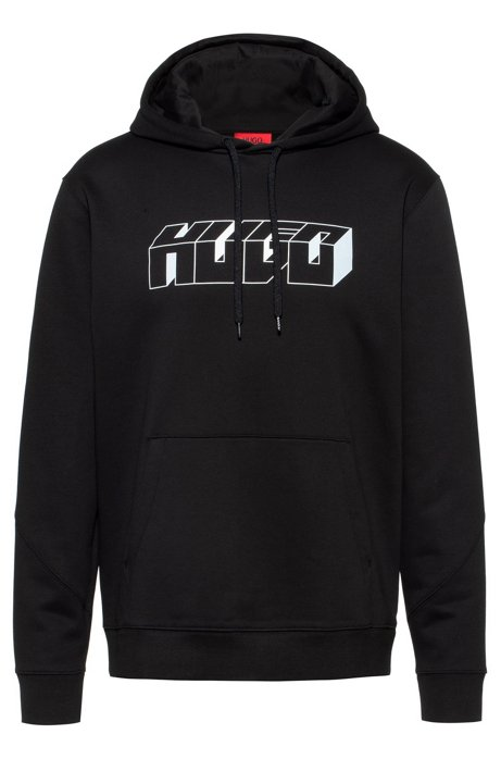 Relaxed-fit hoodie in French terry with reflective logo, Black