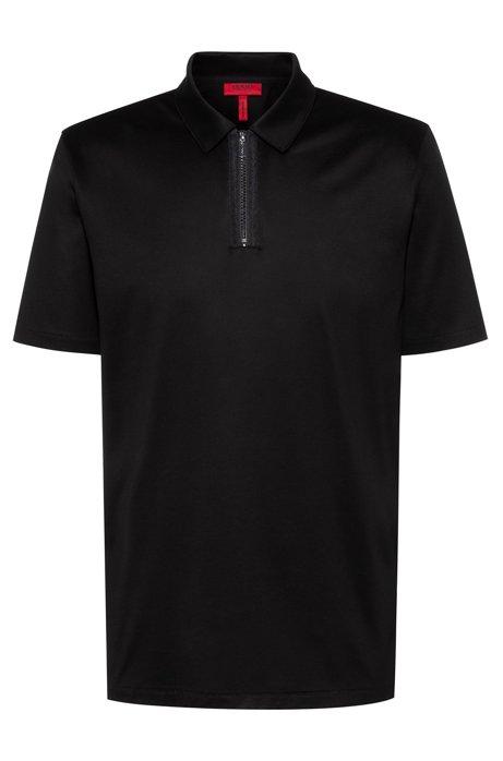 Poloshirt aus Jersey mit Reißverschluss am Kragen, Schwarz