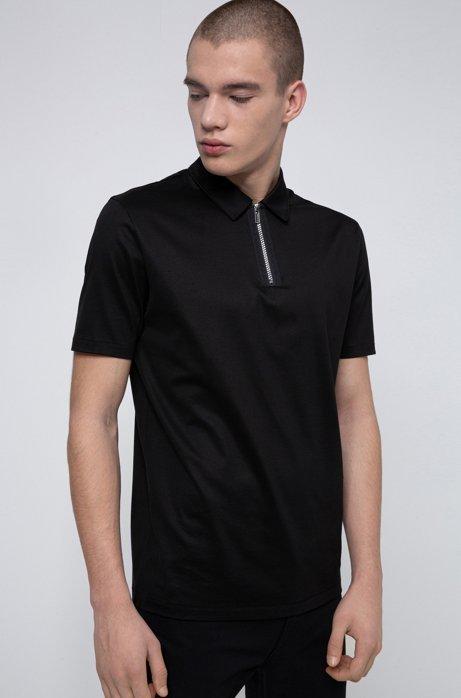 Polo Slim Fit avec col zippé, Noir
