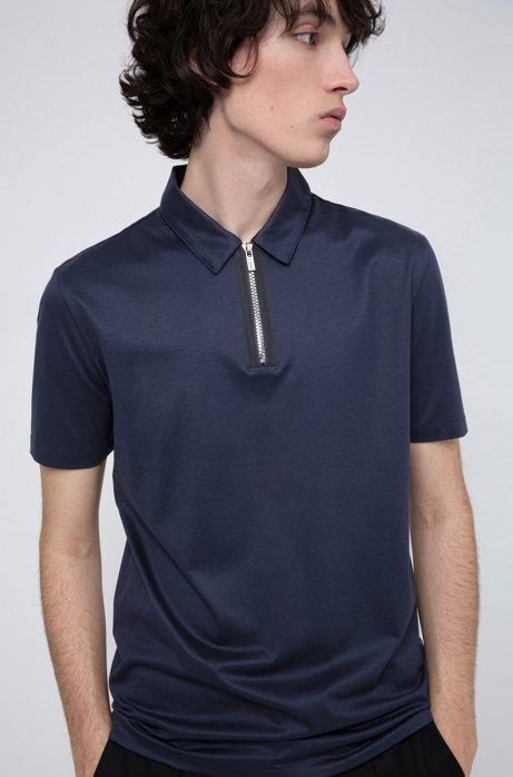 Poloshirt aus Jersey mit Reißverschluss am Kragen, Dunkelblau