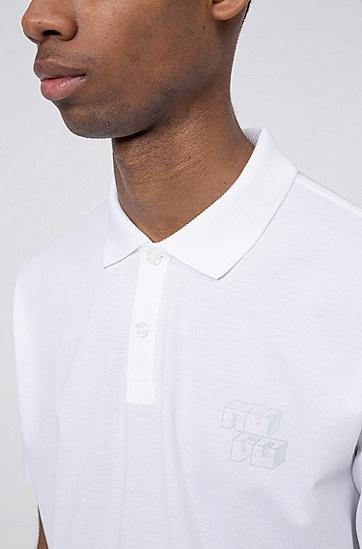 男士反光立体徽标棉质珠地布 Polo 衫,  100_白色