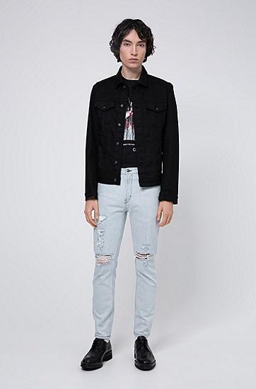 男士系列主题印花宽松版型 T 恤,  001_黑色