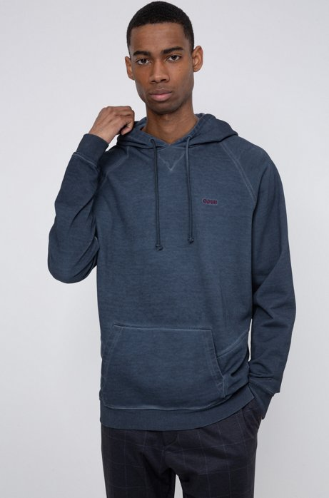 Garment-dyed hoodie in Recot2® French terry, Dark Blue