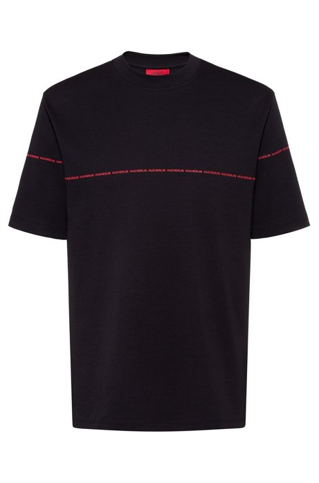 Relaxed-fit T-shirt van interlocked katoen met nieuw streepdessin, Zwart