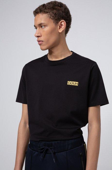 Camiseta regular fit con estampado del logo invertido, Negro