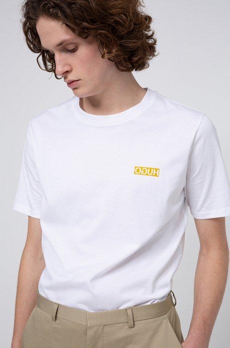 T-shirt Regular Fit avec imprimé logo inversé, Blanc